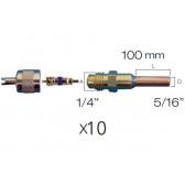 """Lot de 10 x Raccords droit valve schrader avec embout cuivre 5/16"""""""
