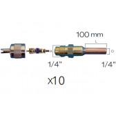 """Lot de 10 x Raccords droit valve schrader avec embout cuivre 1/4"""" 10 cm et bouchon moleté"""