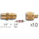 Lot de 10 x Raccords droit avec valve Schrader à braser en laiton 1/4 ODF