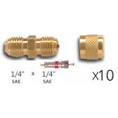 Lot de 10 x Raccords droit avec valve Schrader en laiton 1/4 flare