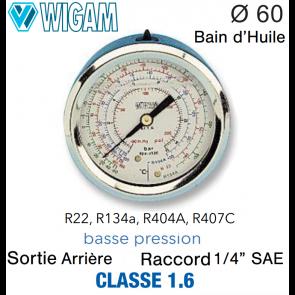 Manomètre avec Bain d'Huile R134A - R404A, R22 - R407C BP