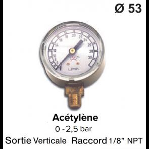 Manomètre pour détendeur - Acétylène - 0 à 1,5 / 2,5 bar bar