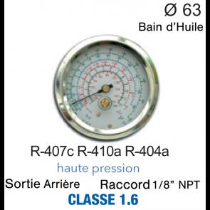 Manomètre avec Bain d'Huile R-407c, R-404A, R-410A HP