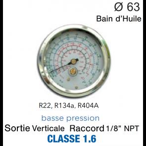 Manomètre avec Bain d'Huile R-134a, R-404A, R-22 - BP