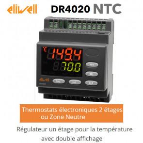 Régulateur deux étages pour la température, avec double affichage DR 4020 NTC de Eliwell