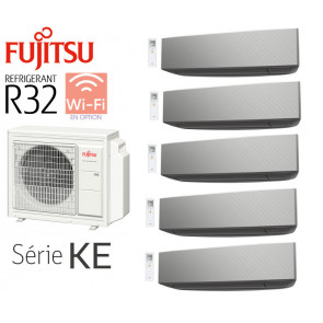 Fujitsu 5-Split Mural AOY100M5-KB + 4 ASY20MI-KE Silver+ 1 ASY40MI-KE Silver