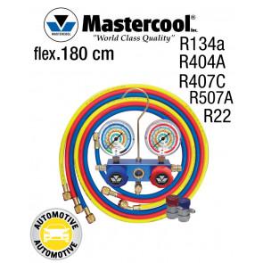 Manifold 2 Vannes à piston Mastercool, flexible 180 cm et coupleurs