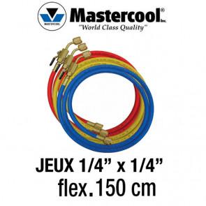 """Jeux de flexibles 150 Cm avec vanne d'arrêt manuelle 1/4"""" SAE Mastercool"""
