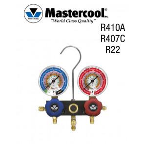 Manifold à voyant - 2 Vannes, Mastercool R410A, R407C et R22 sans flexible
