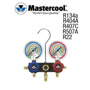 Manifold à voyant - 2 Vannes, Mastercool R134a, R404A, R407C, R22, R507A, sans flexible