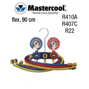 Manifold à voyant - 2 Vannes, Mastercool R410A, R407C et R22, flexible 90 cm
