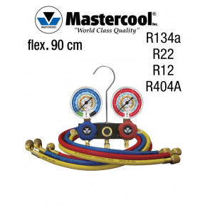 Manifold à voyant - 2 Vannes, Mastercool R134A - R134a, R22, R12, R404A, flexible 90 cm