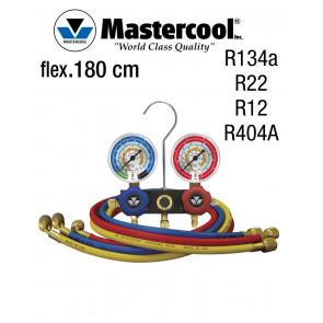 Manifold à voyant - 2 Vannes, Mastercool R134a, R22, R12, R404A, flexibles de 180 cm
