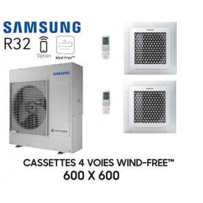 Samsung Cassette 4 voies 600x600 Wind-Free Bi-Split AJ100TXJ5KG + 2 AJ052TNNDKG