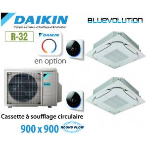 Daikin Cassette 8 voies Round Flow 900 x 900 Bisplit 2MXM68N + 2 FCAG35B - R32