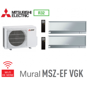 Mitsubishi Bi-split Mural Inverter Design MXZ-2F53VF + 2 MSZ-EF25VGKS