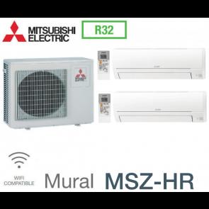 Mitsubishi Bi-split Mural Inverter MXZ-2HA50VF + 2 MSZ-HR25VF - R32