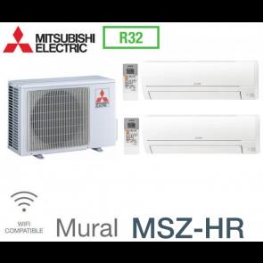Mitsubishi Bi-split Mural Inverter MXZ-2HA40VF + 2 MSZ-HR25VF - R32