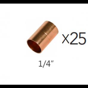 """Lot de 25 Manchon en cuivre 1/4"""""""