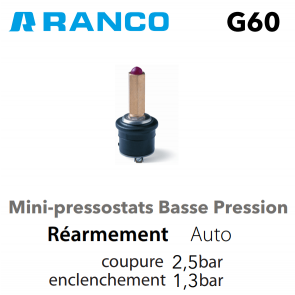 Pressostat miniature BP G60-H1101650 Ranco
