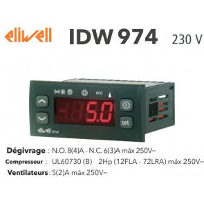 Régulateur Eliwell IDW974 230V avec deux sondes NTC