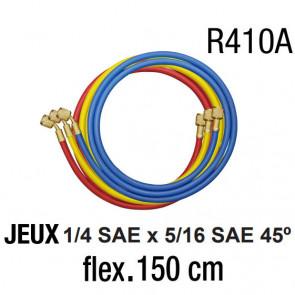 Jeux de flexibles 1/4 SAE x 5/16 SAE - 150 cm R410A