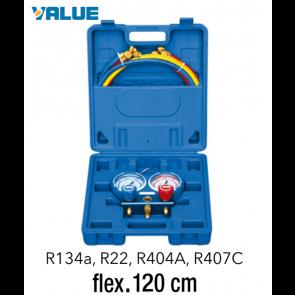 Coffret manomètre 2 voies avec voyant et flexible R134A - R404A - R22 - R407C - 120 cm