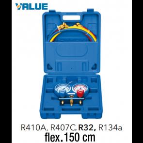 Coffret manomètre 2 voies avec voyant et flexible R410A, R407C, R32, R134a