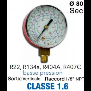 Manomètre BP pour R22 - R134a - R404a - R407c