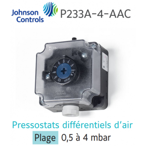 "Pressostat différentiel d'air ""JOHNSON CONTROLS"" P233A-4-AAC"