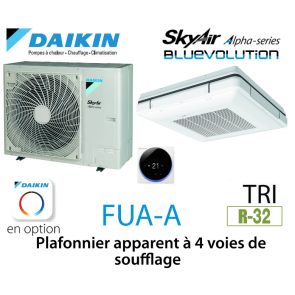 Daikin Plafonnier apparent à 4 voies de soufflage Alpha FUA71A triphasé