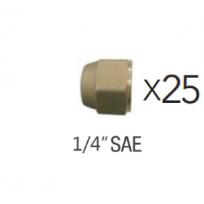 """Lot de 25 Écrous court 1/4"""" SAE"""