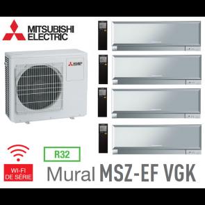 Mitsubishi Quadri-split Mural Inverter Design MXZ-4F83VF + 3 MSZ-EF22VGKS + 1 MSZ-EF42VGKS