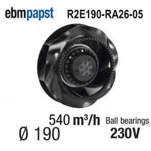 Ventilateur centrifuge EBM-PAPST - R2E190-RA26-05 - en 230 V