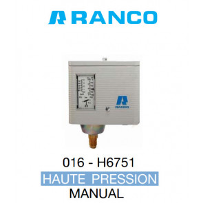 Pressostat simple manuel HP O16-6751 Ranco