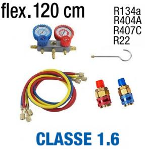Manifold R134A - R404A - R22 - R407C avec jeux de flexibles et coupleurs QC-12