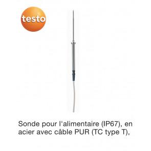 Sonde alimentaire en acier inoxydable (TC de type T) - avec câble en PUR de Testo