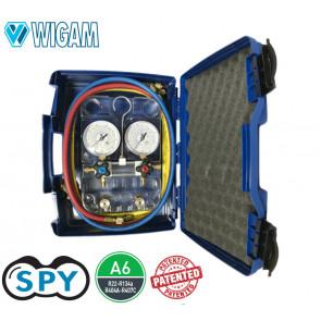 Coffret manomètre à 4 voies SPY R134A - R404A - R22 - R407C avec jeu de flexibles