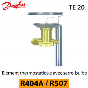 Elément thermostatique TES 20 - 067B3352 - R404A, R449A, R407A, R452A/R507 Danfoss