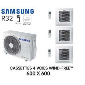 Samsung Cassette 4 voies 600x600 Wind-Free Tri-Split AJ052TXJ3KG + 2 AJ016TNNDKG + 1 AJ020TNNDKG