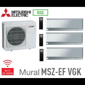 Mitsubishi Tri-split Mural Inverter Design MXZ-3F68VF + 2 MSZ-EF22VGKS + 1 MSZ-EF35VGKS