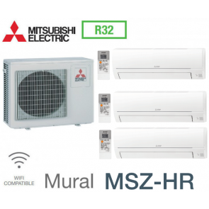 Mitsubishi Tri-split Mural Inverter MXZ-3HA50VF + 2 MSZ-HR25VF + 1 MSZ-HR35VF - R32
