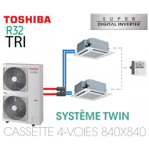Ensemble Twin Toshiba Cassettes 4-voies 840 x 840 SDI R32 triphasé