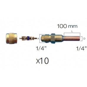 """Lot de 10 x Raccords droit valve schrader avec embout cuivre 1/4"""" 10 cm et bouchon laiton"""