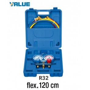 Coffret manomètre 2 voies avec voyant et flexible R32 - 120 cm
