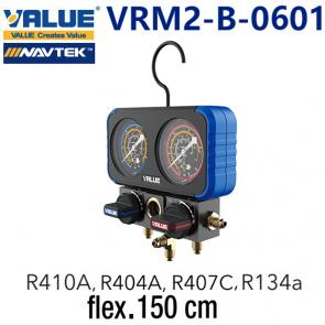 Coffret manomètre 2 voies avec voyant et flexible VRM2-B-0601 de Value